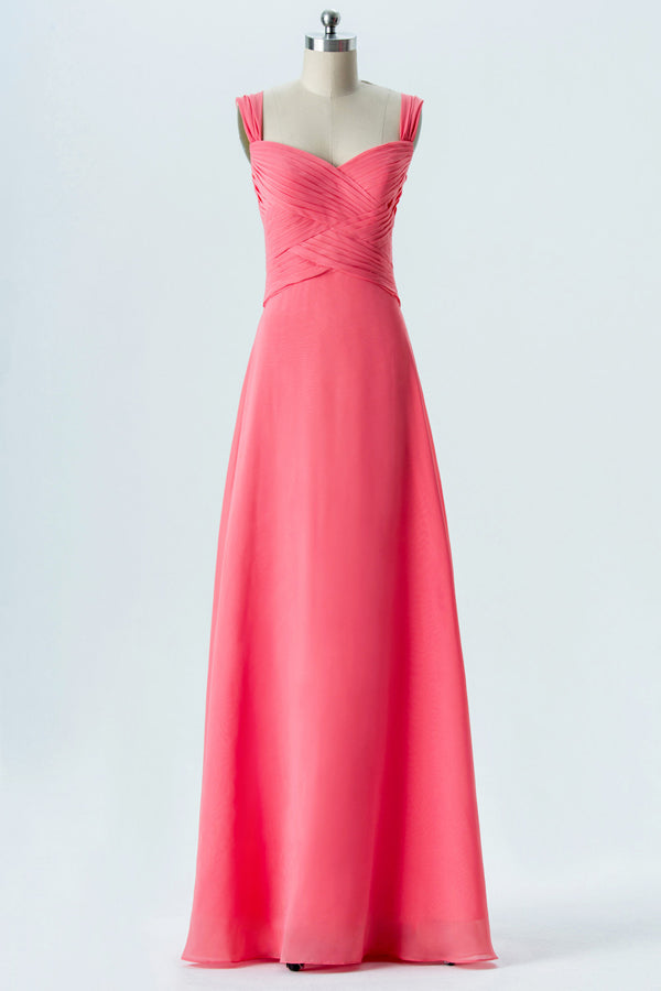 Spiced Coral Sweetheart Floor Length Bridesmaid Dresses,Open Back Simple Bridesmaid Gowns