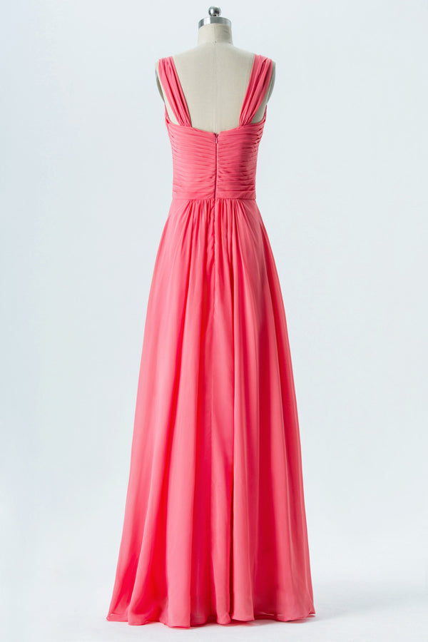 Spiced Coral Sweetheart Floor Length Bridesmaid Dresses,Open Back Simple Bridesmaid Gowns OB119