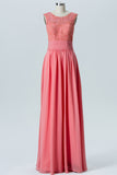 Peach Pink Boat Simple Bridesmaid Dresses,Appliques Sleeveless Floor Length Bridesmaid Gowns