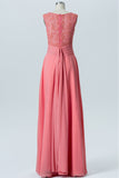 Peach Pink Boat Simple Bridesmaid Dresses,Appliques Sleeveless Floor Length Bridesmaid Gowns OB120 - Ombreprom