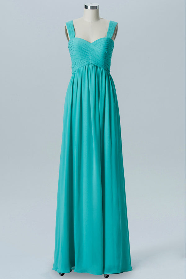 Turquoise Sweetheart Simple Bridesmaid Dresses,Open Back Sleeveless Floor Length Bridesmaid Gowns