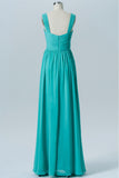 Turquoise Sweetheart Simple Bridesmaid Dresses,Open Back Sleeveless Floor Length Bridesmaid Gowns OB121 - Ombreprom