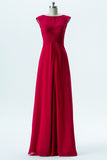 Red Boat Capped Sleeve Simple Bridesmaid Dresses,Open Back Floor Length Bridesmaid Gowns