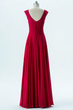 Red Boat Capped Sleeve Simple Bridesmaid Dresses,Open Back Floor Length Bridesmaid Gowns OB122 - Ombreprom