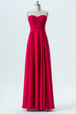 Red Sweetheart Strapless Simple Bridesmaid Dresses,Low Back Floor Length Bridesmaid Gowns