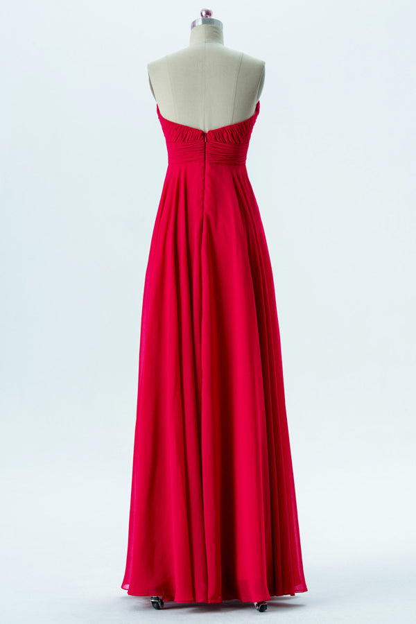 Red Sweetheart Strapless Simple Bridesmaid Dresses,Low Back Floor Length Bridesmaid Gowns OB123 - Ombreprom