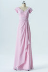 Barely Pink Capped Sleeve Simple Bridesmaid Dresses,Appliques Floor Length Bridesmaid Gowns OB125 - Ombreprom