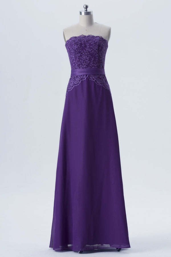 Royal Purple Sleeveless Simple Bridesmaid Dresses,Appliques Floor Length Bridesmaid Gowns