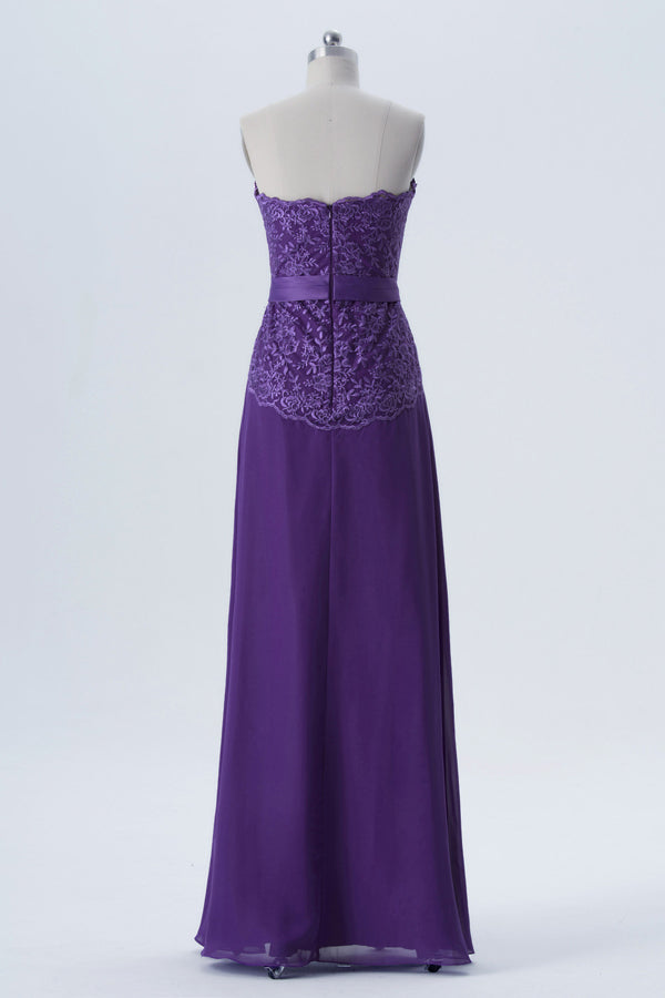 Royal Purple Sleeveless Simple Bridesmaid Dresses,Appliques Floor Length Bridesmaid Gowns OB127 - Ombreprom