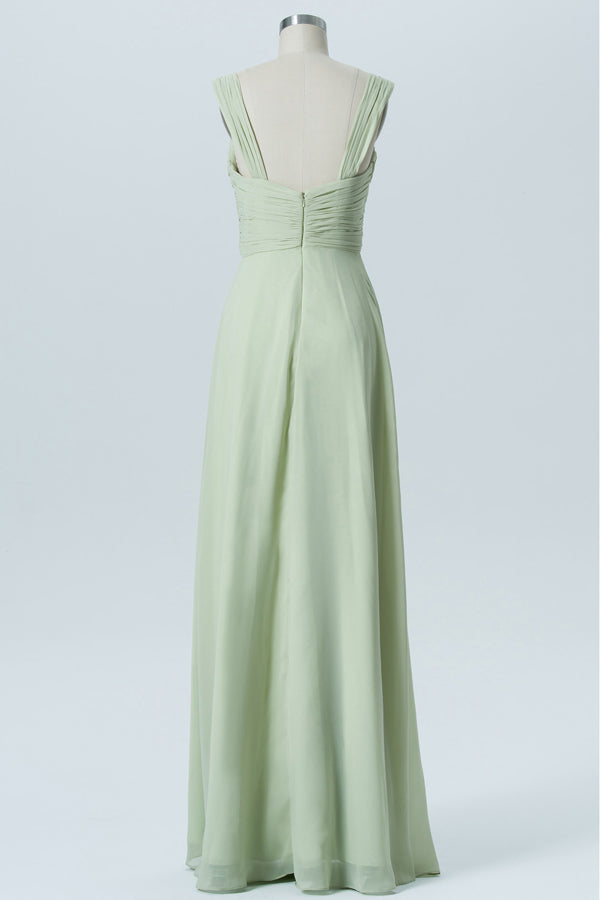 Seafoam Green Sweetheart Sleeveless Simple Bridesmaid Dresses,Mid Back Long Bridesmaid Gowns OB128 - Ombreprom