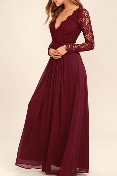 Burgundy Long Sleeve Simple Bridesmaid Dresses,Open Back Hollow Long Bridesmaid Gowns
