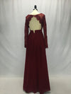 Burgundy Long Sleeve Simple Bridesmaid Dresses,Open Back Hollow Long Bridesmaid Gowns OB129