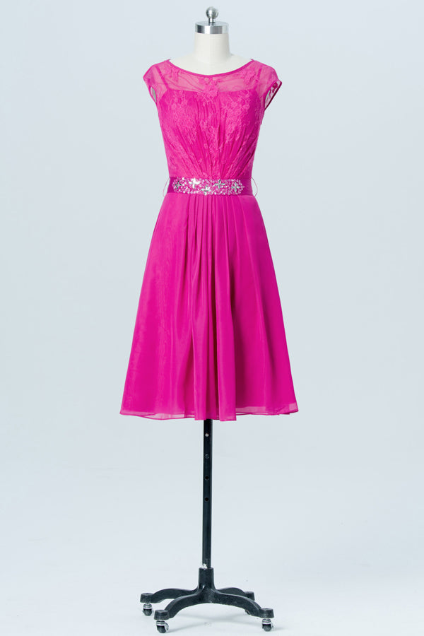 Capped Sleeve Short Bridesmaid Dresses,Sequins Beading Belt Cheap Bridesmaid Gowns OB81 - Ombreprom