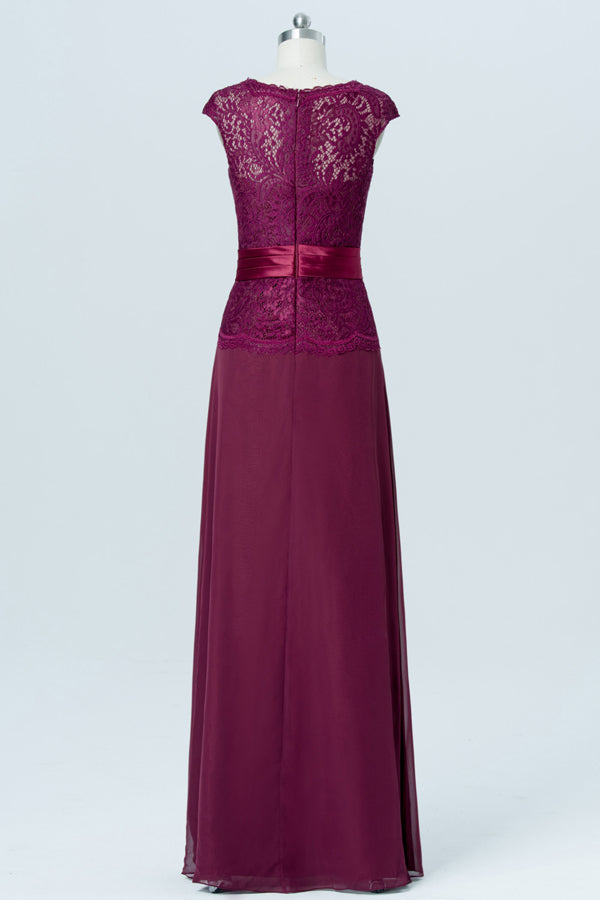Burgundy Capped Sleeve Cheap Bridesmaid Dresses,Hollow Long Bridesmaid Gowns OB83 - Ombreprom