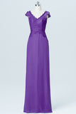 Royal Purple Capped Sleeve Cheap Bridesmaid Dresses,Lace Up Appliques Long Bridesmaid Gowns