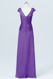Royal Purple Capped Sleeve Cheap Bridesmaid Dresses,Lace Up Appliques Long Bridesmaid Gowns OB86 - Ombreprom