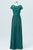 Hunter Green Short Sleeve Cheap Bridesmaid Dresses,Lace Up Appliques Long Bridesmaid Gowns