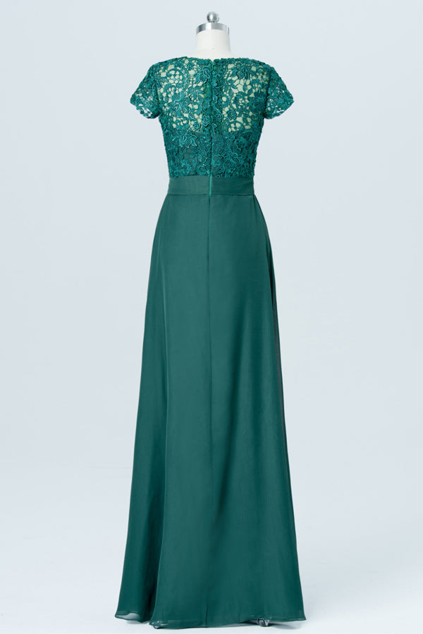 Hunter Green Short Sleeve Cheap Bridesmaid Dresses,Lace Up Appliques Long Bridesmaid Gowns OB87