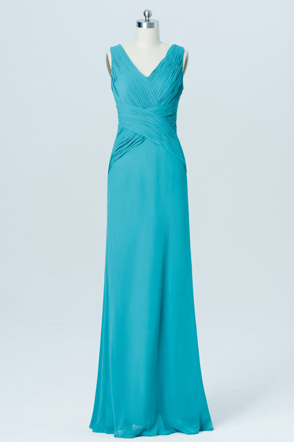 Emerald Sleeveless Cheap Bridesmaid Dresses,V Neck Long Bridesmaid Gowns