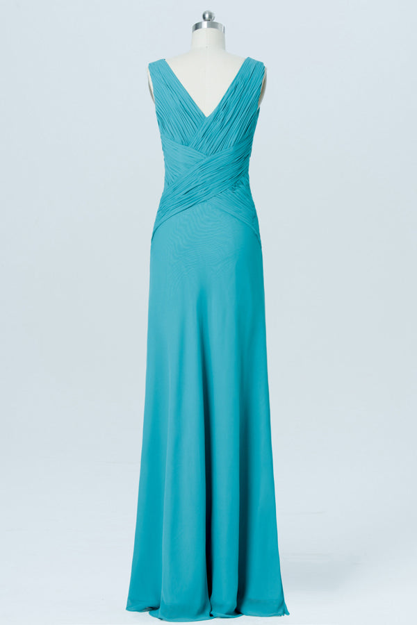 Emerald Sleeveless Cheap Bridesmaid Dresses,V Neck Long Bridesmaid Gowns OB88 - Ombreprom