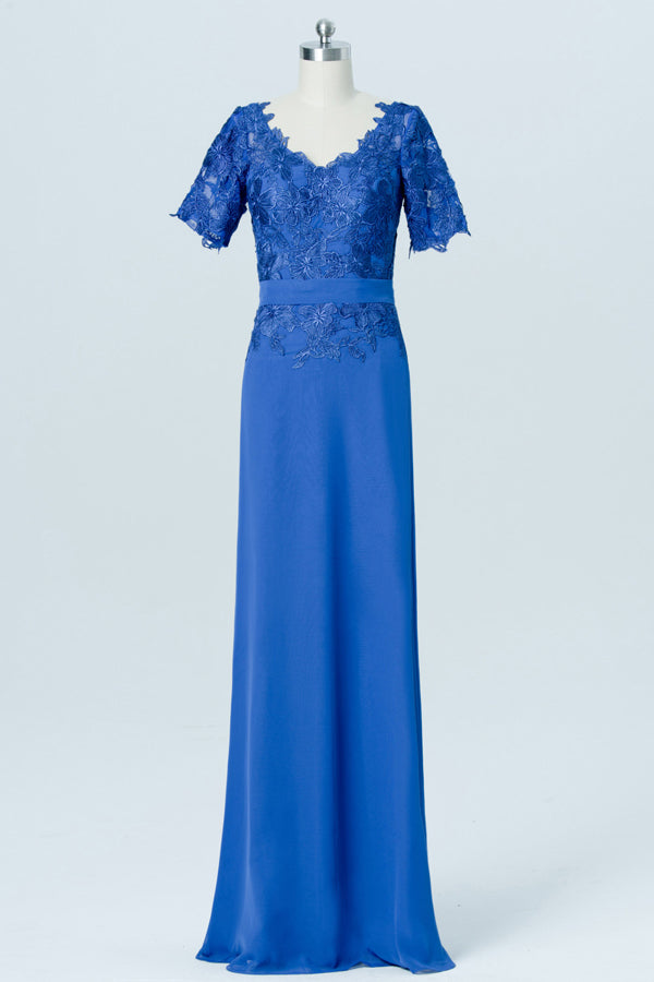 Blue Short Sleeve Cheap Bridesmaid Dresses,Lace Appliques Long Bridesmaid Gowns OB89 - Ombreprom