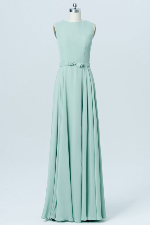 Pastel Green Sleeveless Cheap Bridesmaid Dresses,A Line Long Bridesmaid Gowns