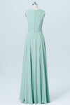 Pastel Green Sleeveless Cheap Bridesmaid Dresses,A Line Long Bridesmaid Gowns OB90 - Ombreprom
