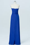 Classic Blue Sweetheart Strapless Cheap Bridesmaid Dresses,Mid Back Long Bridesmaid Gowns OB91 - Ombreprom