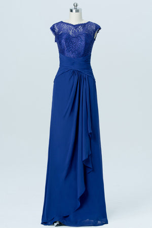 Twilight Blue Sheer Cheap Bridesmaid Dresses,Open Back Appliques Long Bridesmaid Gowns