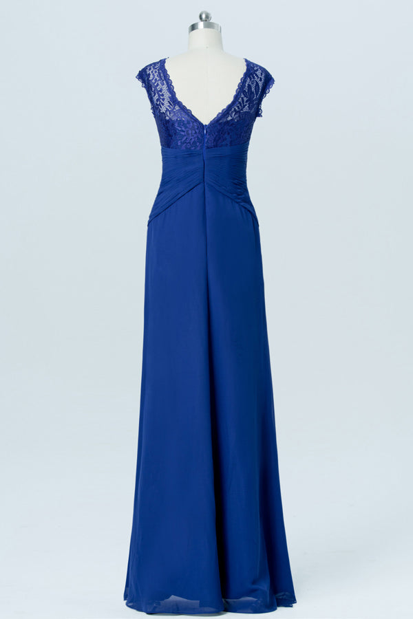 Twilight Blue Sheer Cheap Bridesmaid Dresses,Open Back Appliques Long Bridesmaid Gowns OB92 - Ombreprom