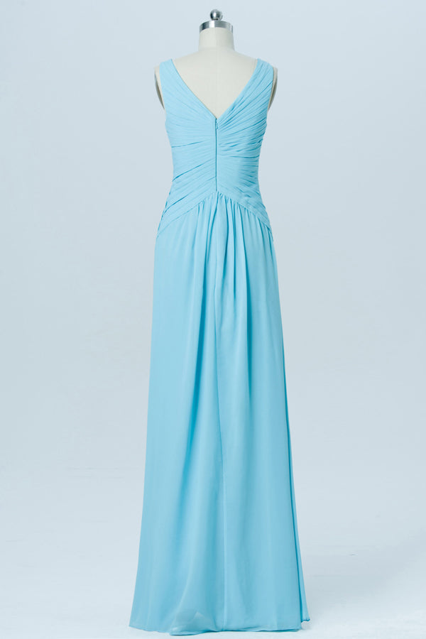 Pool Blue V Neck Cheap Bridesmaid Dresses,V Back Sleeveless Long Bridesmaid Gowns OB93 - Ombreprom