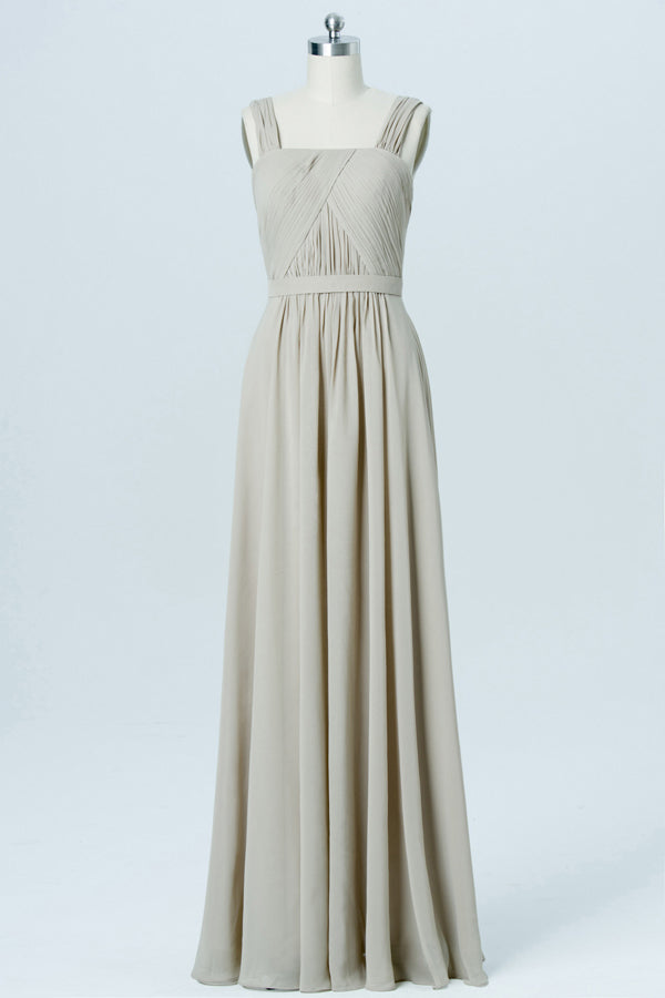 Sand Square Sleeveless Cheap Bridesmaid Dresses,Open Back Long Bridesmaid Gowns