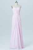 Barely Pink Sweetheart Strapless Simple Bridesmaid Dresses,Mid Back Long Bridesmaid Gowns OB97 - Ombreprom