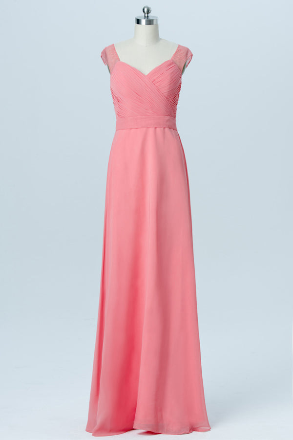 Peach Pink Sweetheart Capped Sleeve Simple Bridesmaid Dresses,Sheer Back Long Bridesmaid Gowns