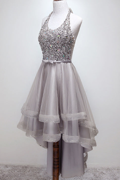 Sparkly Halter High-Low Sequins Prom Dress Tulle Homecoming Dress M814