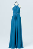 Blue Floor Length Sleeveless Bridesmaid Dresses,Halter Beading Chiffon Bridesmaid Gown OMB01 - Ombreprom
