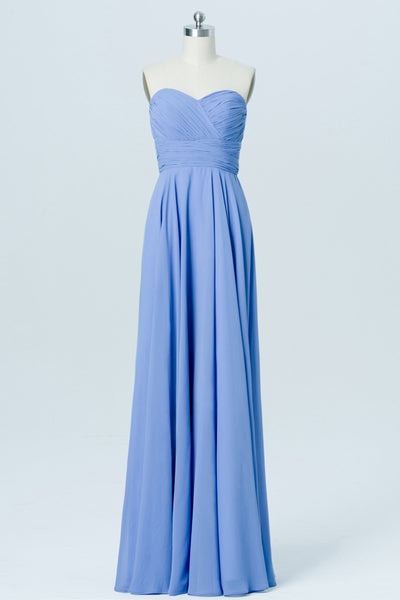 Blue Topaz Sweetheart Strapless Floor Length Bridesmaid Dresses,Mid Back Bridesmaid Gown