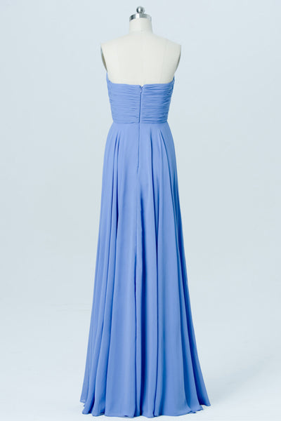 Blue Topaz Sweetheart Strapless Floor Length Bridesmaid Dresses,Mid Back Bridesmaid Gown OMB10
