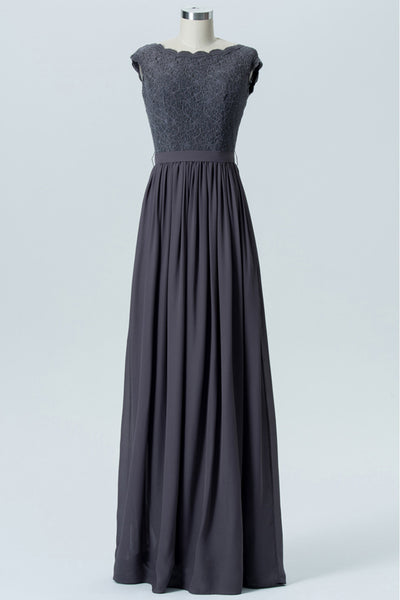 Charcoal Grey Capped Sleeve Floor Length Bridesmaid Dresses,V Back Bridesmaid Gown OMB11 - Ombreprom
