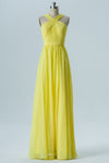 Yellow X Neck Sleeveless Floor Length Bridesmaid Dresses,Mid Back Bridesmaid Gown