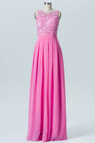 Pink Carnation Boat Sleeveless Floor Length Bridesmaid Dresses,U Back Appliques Bridesmaid Gown