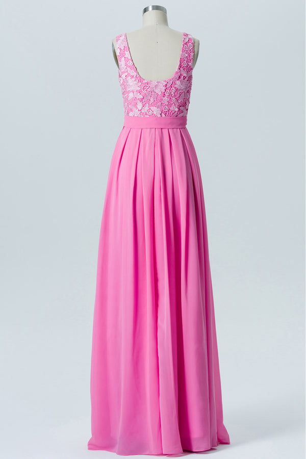Pink Carnation Boat Sleeveless Floor Length Bridesmaid Dresses,Appliques Bridesmaid Gown OMB13 - Ombreprom