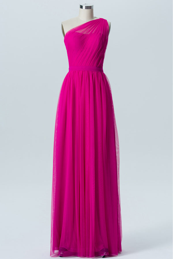 Peony One Shoulder Sleeveless Floor Length Bridesmaid Dresses,Tulle Up Bridesmaid Gown