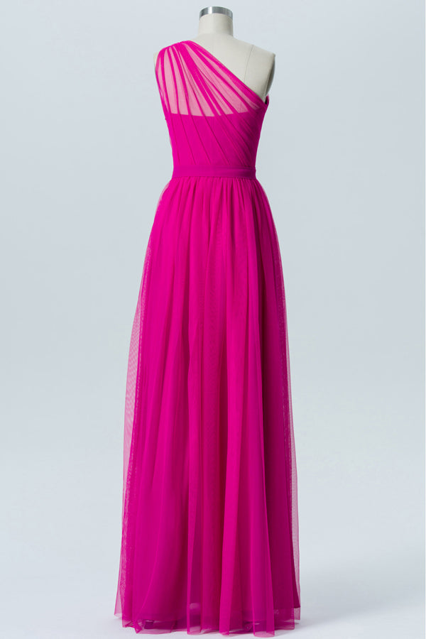 Peony One Shoulder Sleeveless Floor Length Bridesmaid Dresses,Tulle Up Bridesmaid Gown OMB14 - Ombreprom