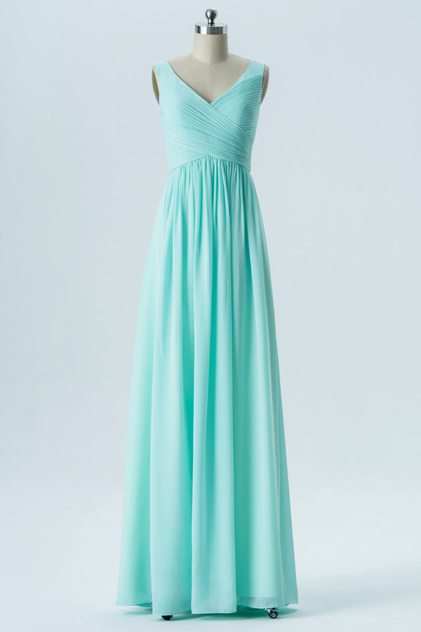 Mint V Neck Sleeveless Floor Length Bridesmaid Dresses,Simple V Back Bridesmaid Gown