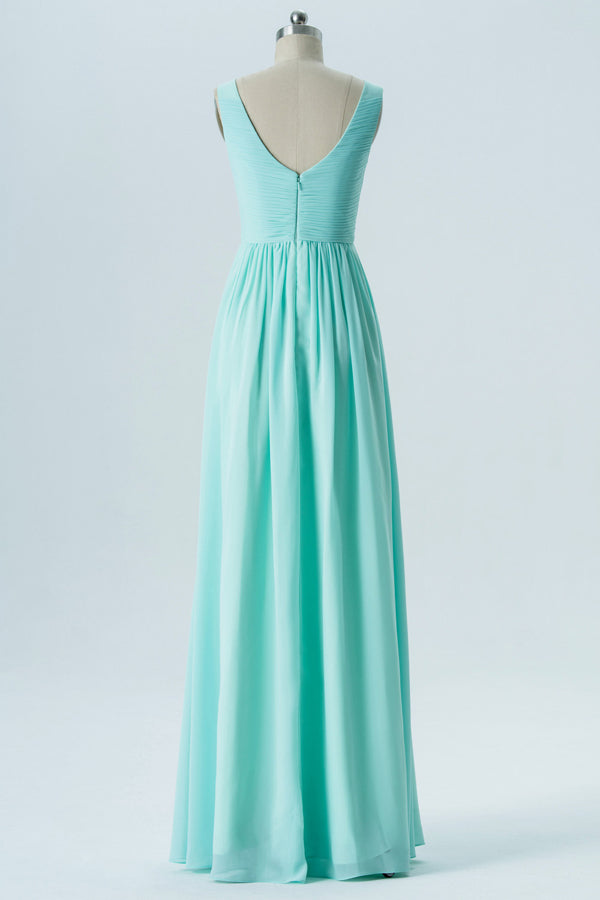 Mint V Neck Sleeveless Floor Length Bridesmaid Dresses,Simple V Back Bridesmaid Gown OMB15 - Ombreprom