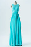 Turquoise Round Neck Sleeveless Floor Length Bridesmaid Dresses,Keyhole Back Appliques Bridesmaid Gown
