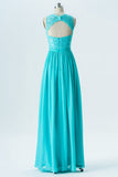 Turquoise Round Neck Sleeveless Floor Length Bridesmaid Dresses,Keyhole Back Appliques Bridesmaid Gown OMB16 - Ombreprom