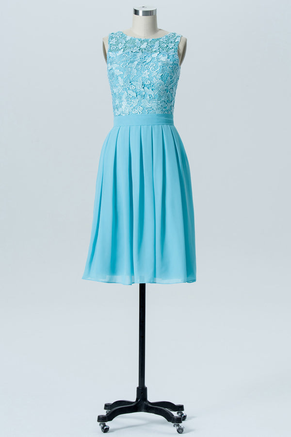Pool Blue Boat Sleeveless Knee Length Bridesmaid Dresses,U Back Lace Appliques Bridesmaid Gown