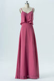 Dusty Rose Sweetheart Spaghetti Sleeveless Floor Length Bridesmaid Dresses,Mid Back Chiffon Bridesmaid Gown